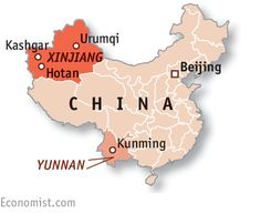 IN CHINA'S far western region of Xinjiang, the authorities are fearful. What they call terrorist attacks carried out by Uighurs, a Muslim ethnic group that regards...