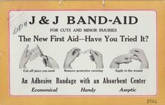 1921 ad for BAND-AID® Brand Adhesive Bandages, from our archives. A design that changed the world.
