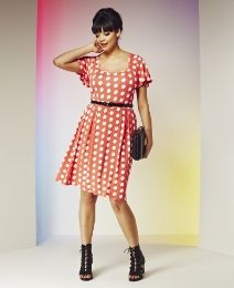 Polka Dot Dress with Belt - Length from 36in