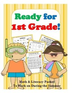 Get+Ready+for+1st+Grade!+Math,+Literacy,+&+Flashcards+for+Incoming+1st+Graders+from+Happy+Days+in+First+Grade+on+TeachersNotebook.com+-++(42+pages)++-+Get+your+graduating+kindergartners+ready+for+1st+grade+with+this+42-page+summer+math+and+literacy+packet!+Packed+with+engaging+activities+to+help+students+review+and+get+ready+for+the+beginning+of+the+year+in+August,+this+packet+also+includes+an+interacti