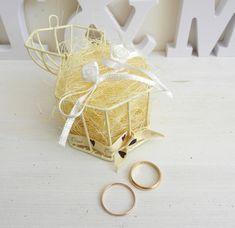Porte alliances pour mariage cage à oiseaux thème écru/ blanc