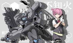 1girl adjusting_clothes adjusting_gloves background_text bad_id blue_eyes commentary_request copyright_name crossover glaring gloves grey_skirt gun hair_ornament kantai_collection machinery mecha mototaro muvluv namesake pink_hair pleated_skirt red_ribbon ribbon school_uniform shiranui_(kantai_collection) short_hair short_sleeves skirt sword type_94_shiranui weapon