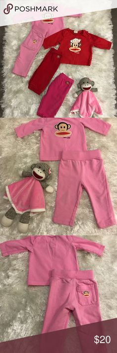 Baby Girl Clothes (3-6 Months) Small Paul Girl sets. 3-6 Months. Gently worn.  No stains or rips. Smoke & Pet Free Home.  Pink set is like new. Worn once.  Red set & dark pink pants are lightly worn.  Monkey toy is included 🙊🙉🙈 Please feel free to ask questions.  Thank you for looking. small paul Matching Sets