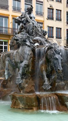 Lyon ~ Rhones-Alpes ~ France ~ La Fontaine Bartholdi ~ It is a fountain sculpted by Frederic Auguste Bartholdi in 1889 and erected in the Place des Terreaux in Lyon centre square in Ville France, Lyon France, Paris France, Lyon City, By Any Means Necessary, France Travel, Sculpture Art, Fountain, Waterfall