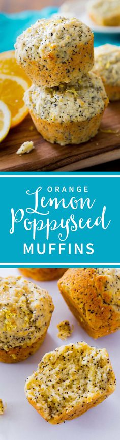 Lemon poppy seed muffins with orange zest for extra delicious citrus flavor! No mixer and so easy to make for breakfast! Recipe on sallysbakingaddiction.com