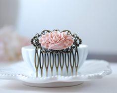 Soft Pink Flower Bouquet Antiqued Brass Filigree Hair by LeChaim