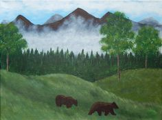 SALE! Bear Country on Canvas Acrylic Painting ORIGINAL 12 X 16 Bears in Hills Mountains Grizzly Wildlife Primitive Alaska Animal Lovers by ABrushOfLife on Etsy