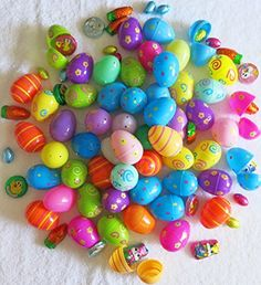 32 Chocolate filled Easter Eggs. Hinged, Plastic, Bright, Colored, Assortment of Toy Easter Eggs.