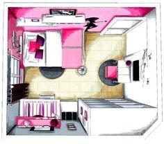 Aménagement et décoration - Chambre ado fille - 4 usages : canapé-lit, bureau, TV/coiffeuse, dressing