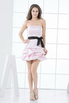 Sweet Pink Black Satin Homecoming Dresses - Order Link: http://www.theweddingdresses.com/sweet-pink-black-satin-homecoming-dresses-twdn4642.html - Embellishments: Sash; Length: Floor Length; Fabric: Satin; Waist: Natural - Price: 163.3881USD