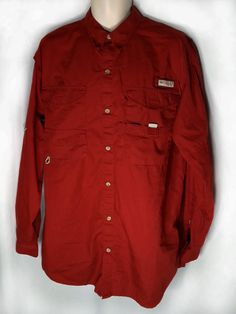 Columbia PFG Shirt Red Large Tall Long Sleeve Vented Fishing Size LT  #Columbia #ButtonFront