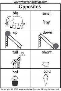 opposites  free printable preschool and kindergarten worksheets  opposites  one worksheet  big small up down tall short hot cold