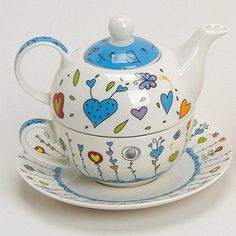 Teekannen-Set Tea For One Teekanne mit Tasse und Untersetzer Blumen / Herzen blau 17x13 cm im Geschenkkarton: Amazon.de: Küche & Haushalt