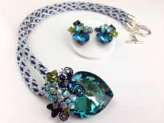 Crystal Kumihimo Jewelry set  Midnight blue crystal by PastelGems, £68.00