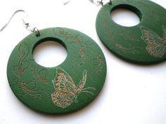 Forest Green Carved Wooden Earrings by ExpressionsByCheree
