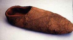 Coppergate sock created by nalbinding technique in 10th century, York, Jorvik Viking centre