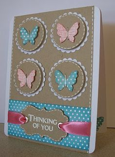 Thinking of You Card...cute - Kaart met vlinders. Hier is de ronde schulpmal gebruikt.