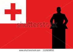The Tonga Flag with a Silhouette of a man giving a speech