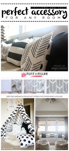 Paint-A-Pillow shares two DIY stenciled pillows using the Drifting Arrows paint-a-pillow kit and Polka Dot stencil pattern. http://paintapillow.com/index.php/drifting-arrows-paint-a-pillow-kit.html  #custom #accent #pillows
