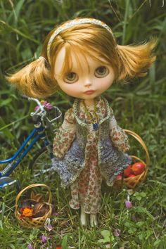 SALE! Country Fields. Bohemian Dress, Knitted Sweater, Striped Leggings, Beaded Necklace And Headband For Blythe Doll