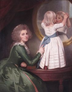 Portrait of Anne Barbara Russell née Whitworth with her son Sir Henry Russell by George Romney  1780's