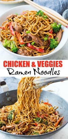 CHICKEN RAMEN NOODLE RECIPE Chicken Ramen Noodle with a flavourful stir-fry sauce takes only 20 minutes to make and is better than take-out. This Easy Ramen Noodle recipe is a perfect mid-week dinner and customization to your preference. Asian Noodle Recipes, Asian Recipes, Healthy Recipes, Recipes With Ramen Noodles, Ramen Noodle Recipes Chicken, Ramen Noodle Recipes Homemade, Fried Ramen, Stir Fry Ramen Noodles, Chicken Noodle Stir Fry