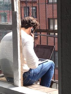 It's a beauty day in NYC - David Gandy is taking a break on the fire escape at the studio...kc  Lucky Brand