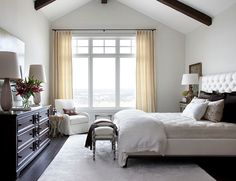 Bedroom. Master Bedroom Ideas. Bedroom with beamed ceiling and tuffed bed. #Bedroom #Masterbedroom #Bedroomdecor