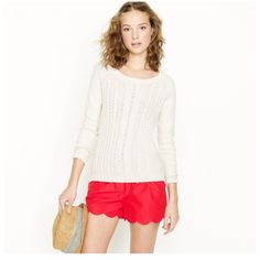 J.Crew White Cotton Cable-knit Sweater I bought this NWOT, but I have never worn it and I need to move soon. Heavy white sweater with fisherman pattern, perfect for fall or winter. J.Crew item #71721 J. Crew Sweaters Crew & Scoop Necks