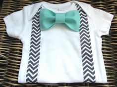 Baby Boy Clothes - Bow Tie Onesie - Baby Tuxedo Onesie - Boy Coming Home Outfit - Chevron Suspenders With Turqoise Blue Bow Tie - Infant Boy on Etsy, $17.99