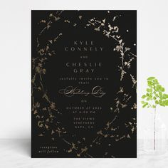 """love drops"" - Modern Foil-pressed Wedding Invitations in Pale by Phrosne Ras. Foil Stamped Wedding Invitations, Black Wedding Invitations, Invites, Golden Design, Reception Card, Wedding Website, Wedding Programs, Invitation Design, Wedding Day"