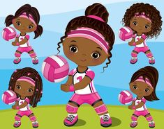 Volleyball Black Girl Clipart Vector Volley Cute Girl Sport   Etsy