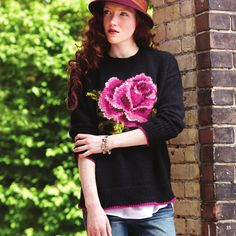 In Bloom Pullover - free pattern @ Yarnspirations Jumper Patterns, Sweater Knitting Patterns, Knit Patterns, Free Knitting, Knitting Daily, Fall Lookbook, Looks Cool, Rowan, Knitting Projects