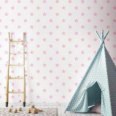papel estrellas rosas decoración habitación infantil. https://papelpintadobarcelona.com/2017/09/23/papel-pintado-estrellas-infantiles/