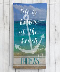 Loving this 'Life Is Better at the Beach' Personalized Beach Towel on #zulily! #zulilyfinds