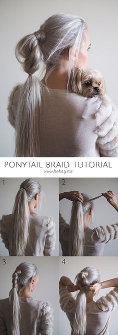 Half braided ponytail tutorial