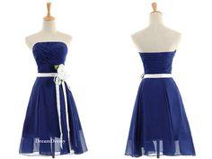 Handmade royal blue bridesmaid dress,princess strapless bridesmaid dress/prom dress/homecoming dress  8344