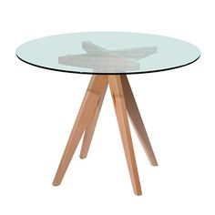 Clear Top Trestle Table - Round - Milan Direct