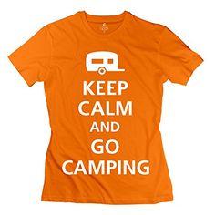 Nozone Women's Keep Calm Go Camping T-shirt – L Orange
