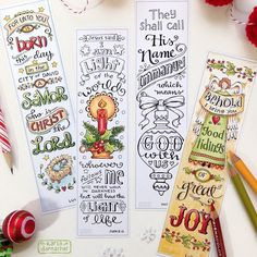 Just Finished This New Collection Of Color Your Own Christmas Bookmarks Bible Journaling Tags Aka Tracers