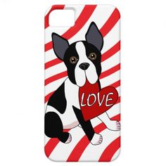 Whimsical Dog Art! Boston Terrier Love iPhone Case iPhone 5 Cover