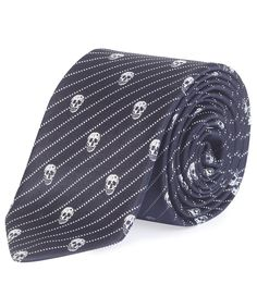Navy Slim Diagonal Stripe Skull Tie, Alexander McQueen Mens. Shop more accessories from the Alexander McQueen Mens collection online at Liberty.co.uk