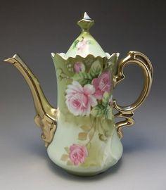 Green Heritage Lefton Tea Pot Pink Roses Porcelain Gilded 3065