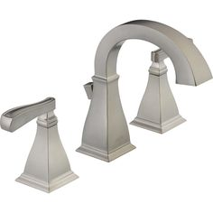 Shop Delta Olmsted Stainless 2-Handle Widespread WaterSense Bathroom Faucet (Drain Included) at Lowes.com