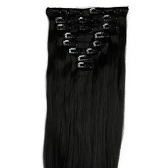 Snoilite 26 Straight Dark Black Full Head Hairpiece Clip In Hair Extensions 8 Piece 18 Clips * Find out more about the great product at the image link.