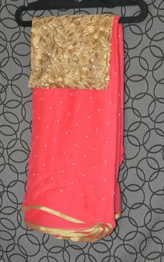 Tamato Red Pure Chiffon saree Combined with Embroidery work designer b – Swanila The Fashion Store