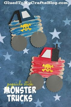 Inspired by my son's recent experience at a monster truck show - today I present to you our Popsicle Stick Monster Trucks Kid Craft idea! Daycare Crafts, Crafts For Boys, Classroom Crafts, Toddler Crafts, Preschool Crafts, Art For Kids, Kid Crafts, Popsicle Crafts, Glue Crafts