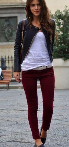 Burgundy Jeans White short and Stylish Jacket