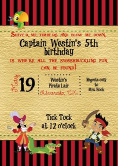 Custom Jake and the Neverland Pirate Invite by ckfireboots on Etsy