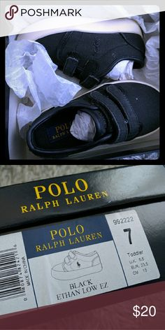 Polo Ralph Lauren toddler boy canvas shoes Polo Ralph Lauren toddler boy canvas shoes in black.  Brand new never worn. No trade please. Polo by Ralph Lauren Shoes Sneakers
